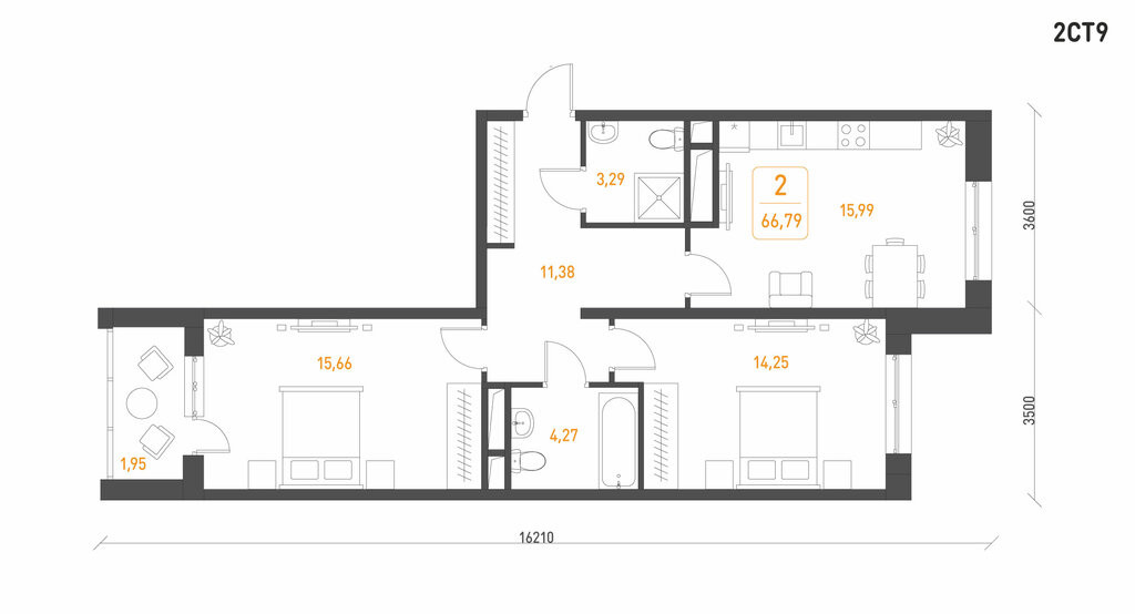 2-комнатная квартира в ЖК Гринада